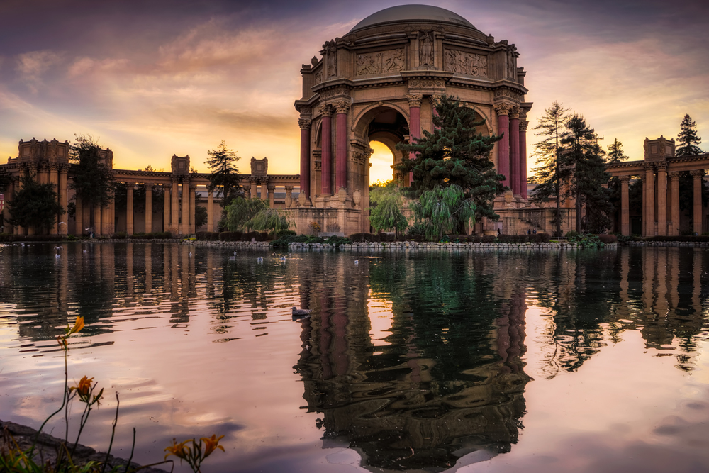 a gorgeous sunset at the palace of fine arts