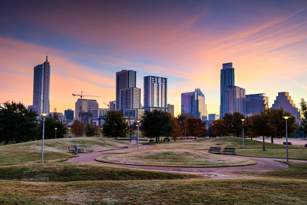 the austin skyline on a cold winter morning during a colorful sunrise!