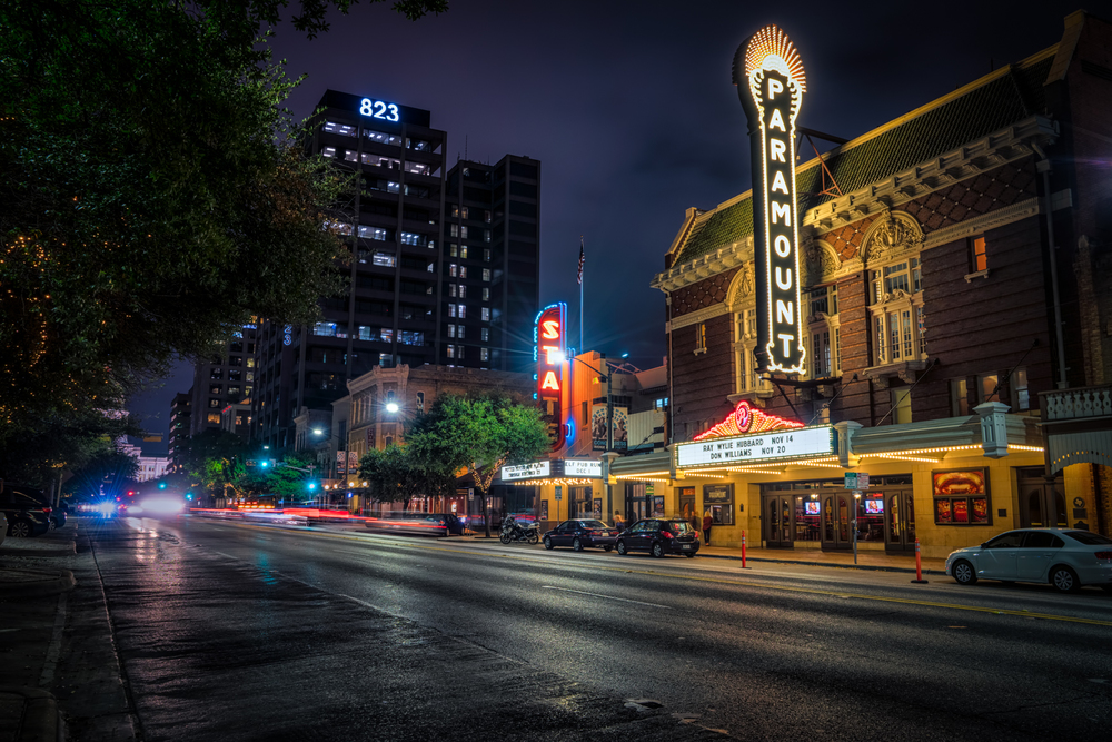 the paramount theater in downtown austin during blue hour - i love that sign!