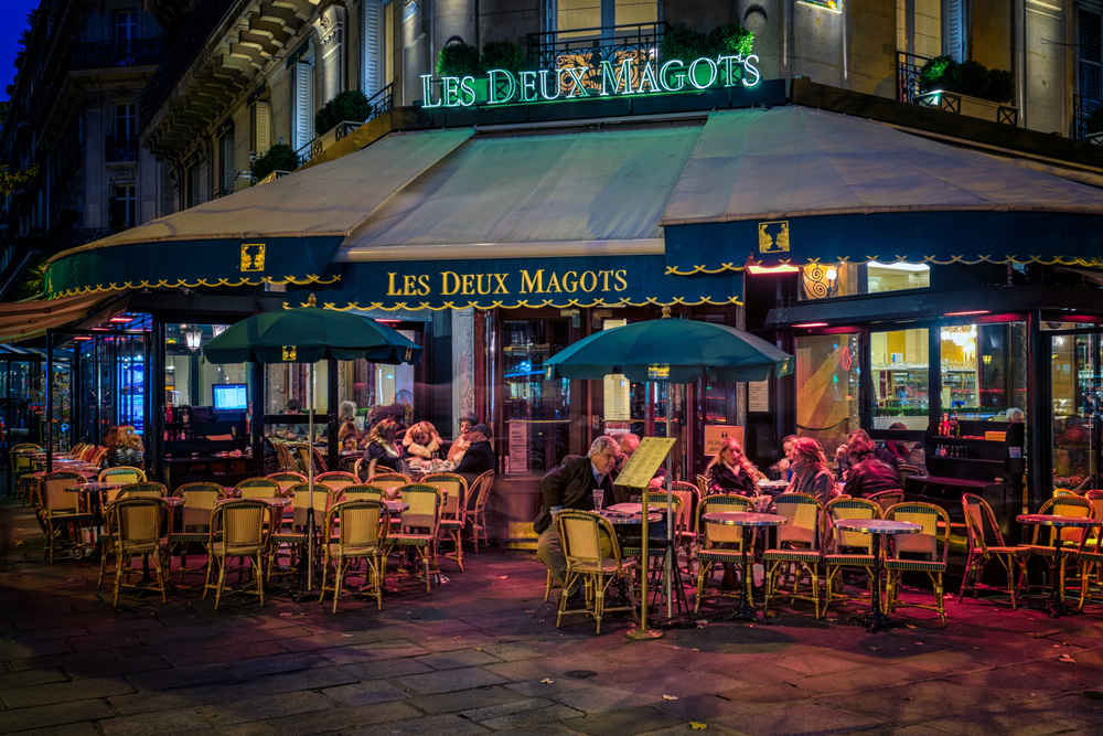 Les Deux Magots, a famous cafe in Saint-Germain-des-Pres