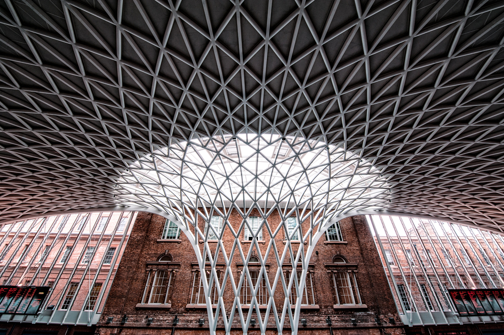 This is the ceiling inside Kings Cross Station, a beautiful and photogenic train station in central London!  I found it so interesting!