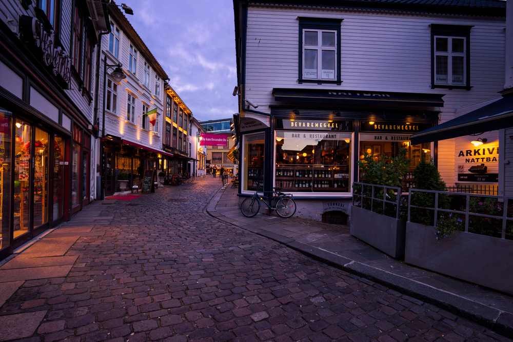 Nearly empty streets in Stavanger during blue hour