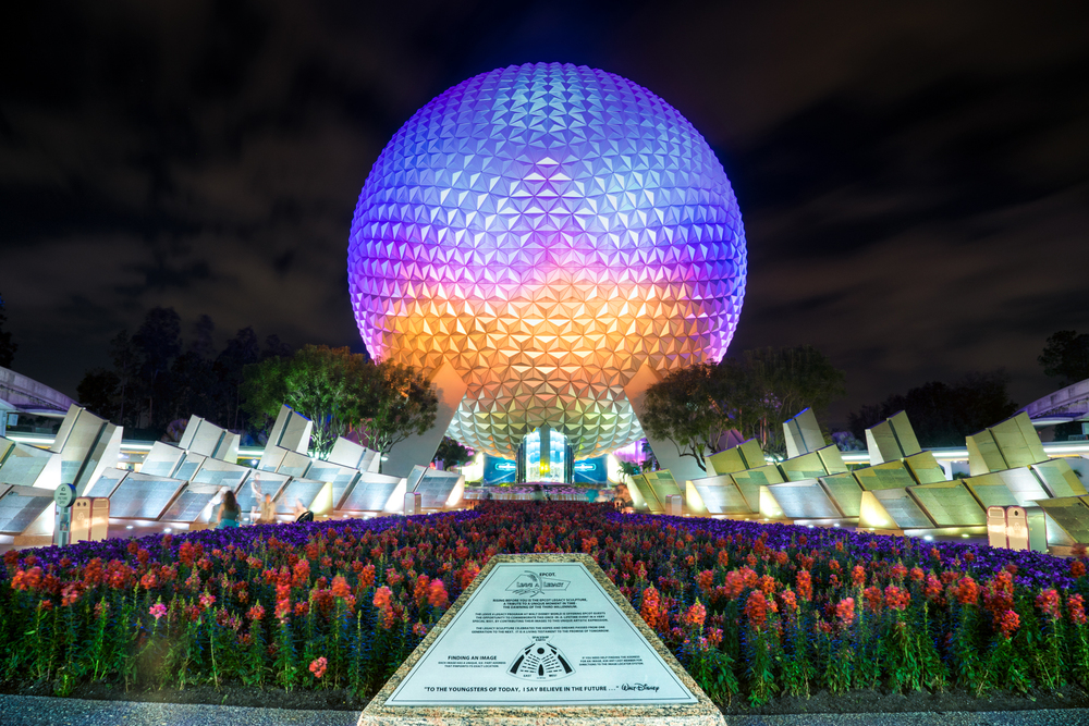 Spaceship Earth at the entrance to EPCOT in Orlando, FL