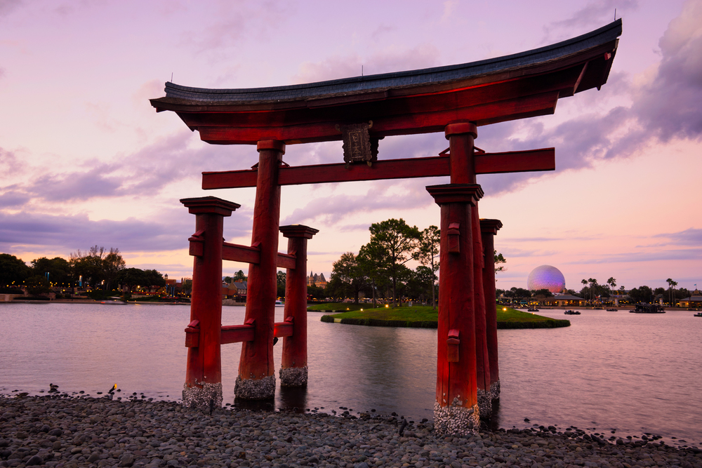 The large tori gate in the Japanese section of EPCOT, during sunset.