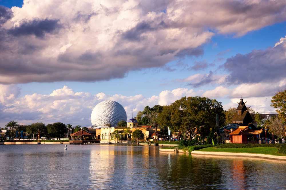 EPCOT is built around a huge lagoon, so I am always looking for shots across the water - this one being a distant view of Spaceship Earth.