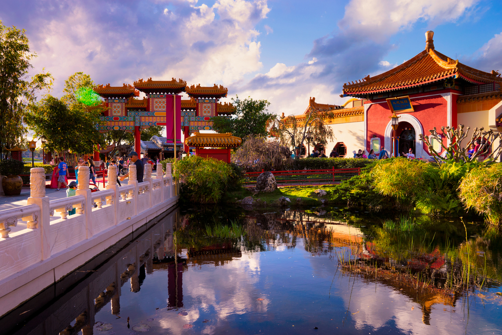 Another bright afternoon shot, but this one at the Chinese Pavilion at EPCOT.  I love the architecture in the park.