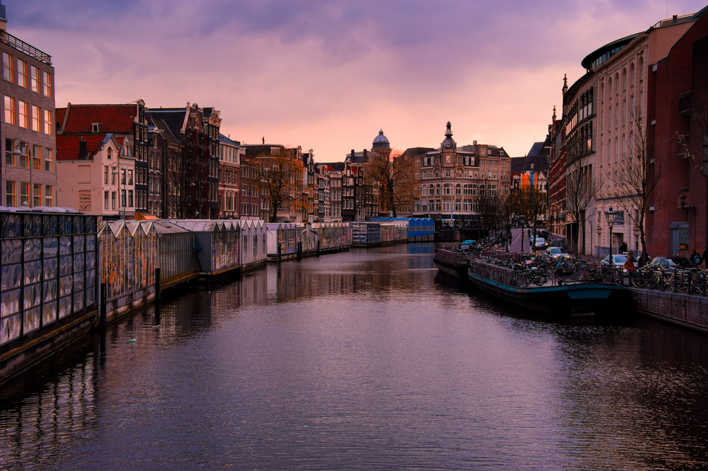 Sunset at the Bloemenmarkt in Amsterdam