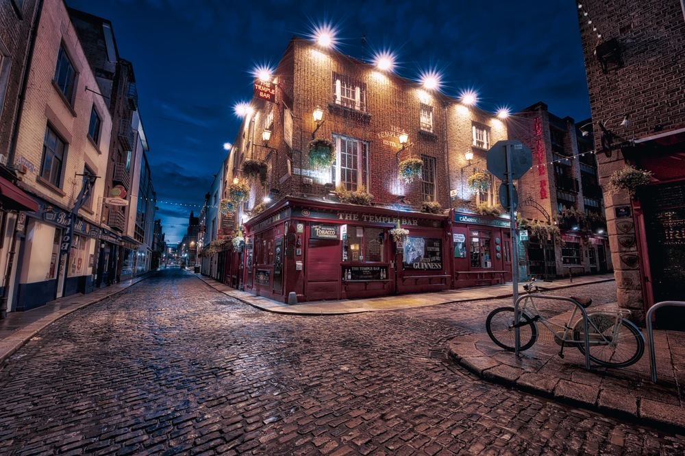 HDR photo captured early one morning at The Temple Bar in Dublin, Ireland