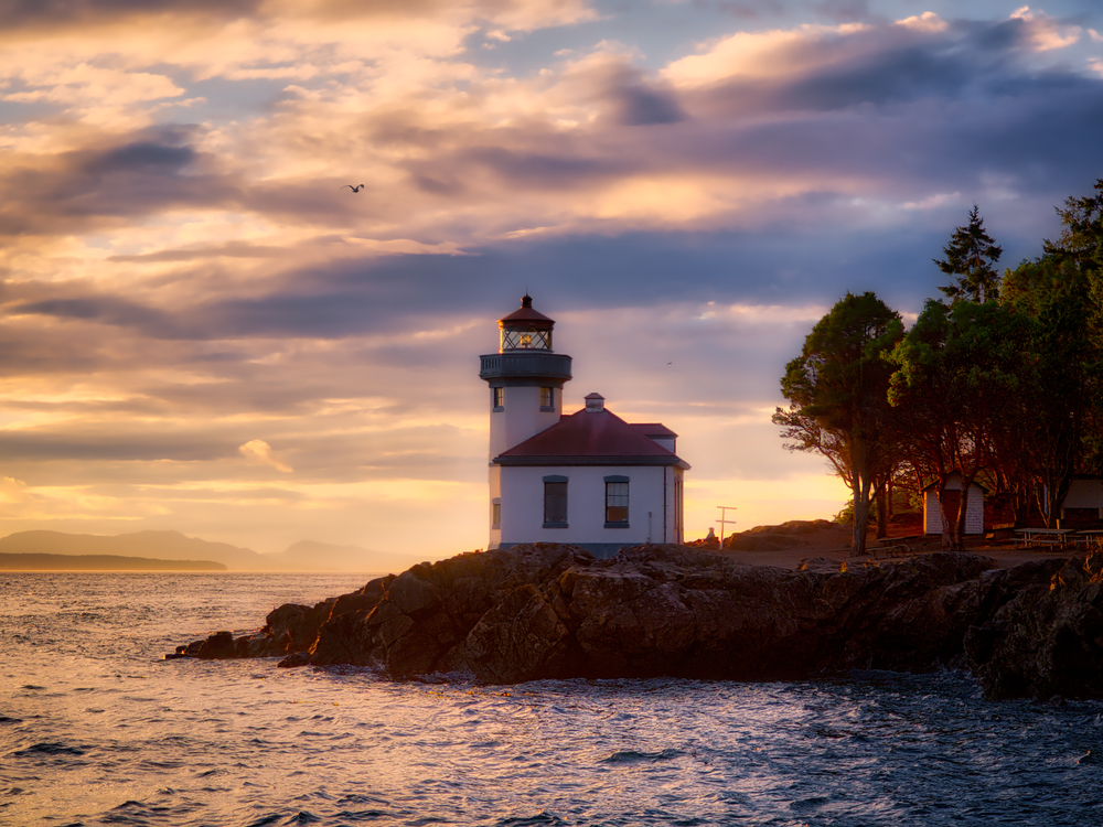 Friday Harbor, Washington at sunset - HDR created in Aurora