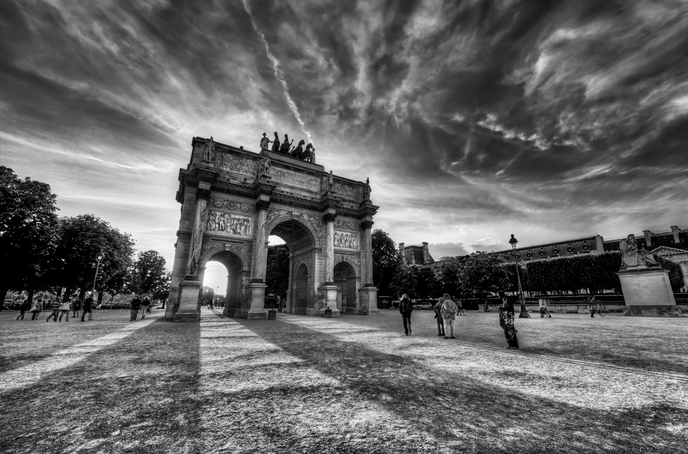 The Arc de Triomphe du Carrousel, which sits just outside of the Louvre (not to be confused with the bigger and more famous Arc de Triomphe).