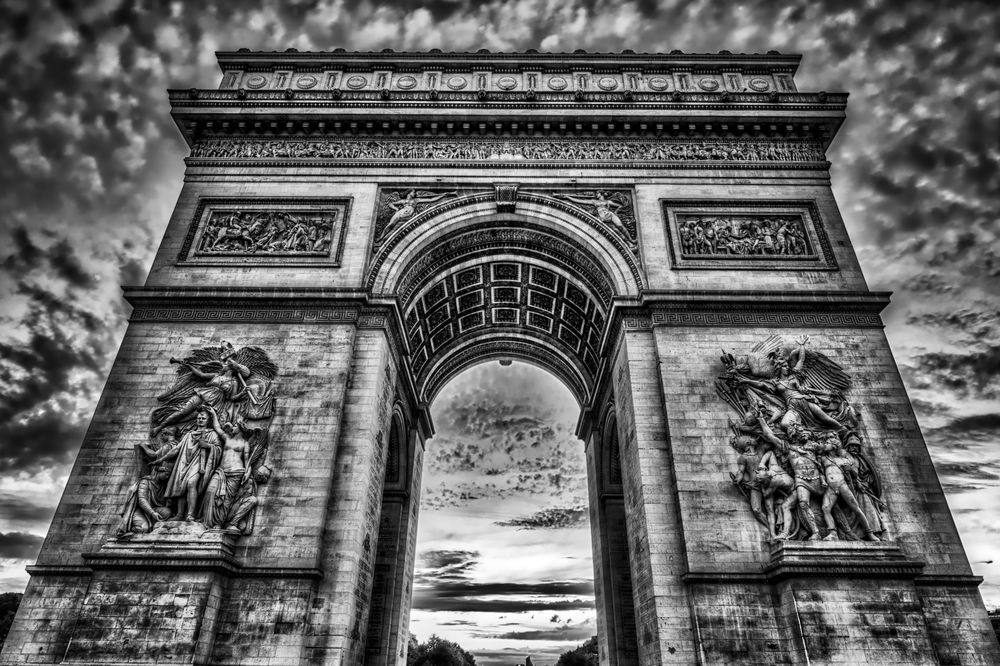 The Arc de Triomphe - yes, I pushed this one pretty far, but it feels like you can do that with a black and white and get away with it better than with color.