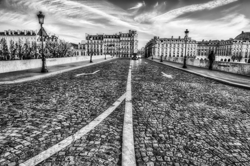 Just a street in Paris - shot down low with a wide angle lens