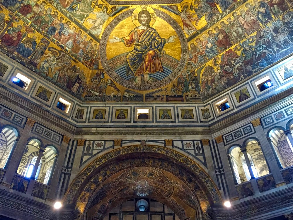 The ceiling inside the Baptistry, next to The Duomo