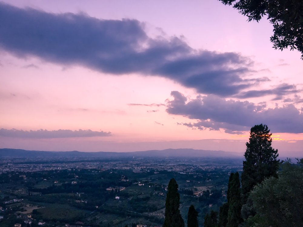 Sunset with Florence in the distance, as seen from the little hilltop village of Fiesole