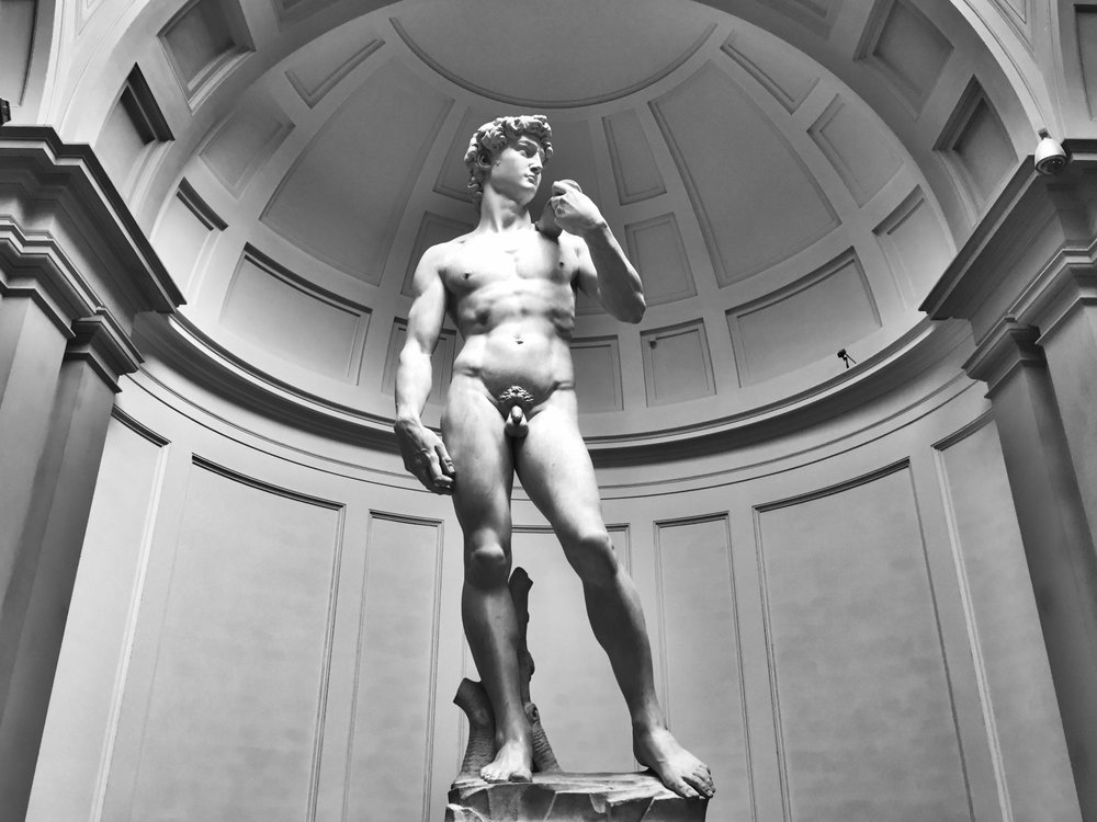 The famous sculpture of David at The Accademia