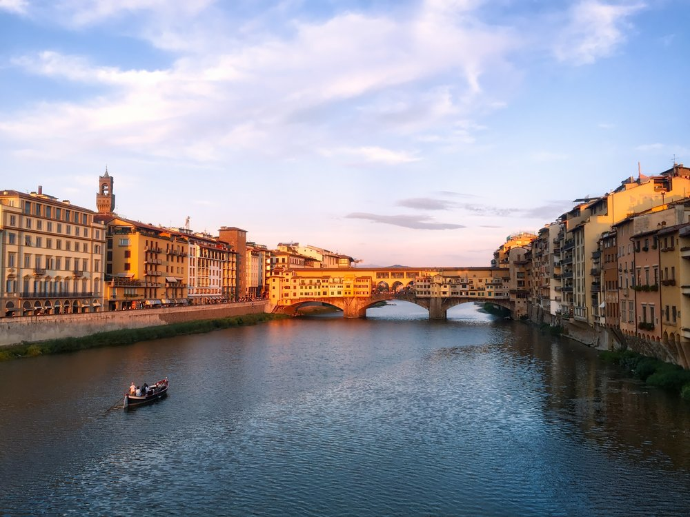 Watching the golden light of sunset hit the Ponte Vecchio