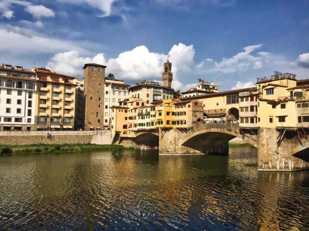 A daytime closeup of the Ponte Vecchio