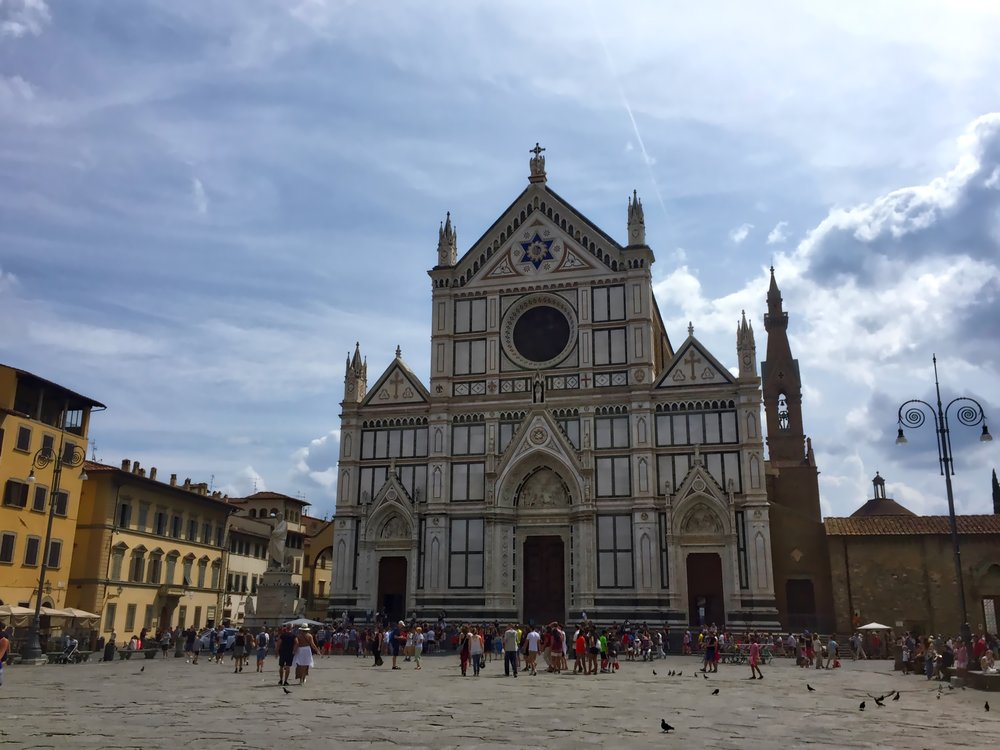 The Basilica of Santa Croce, which houses many famous tombs, including Michelangelo