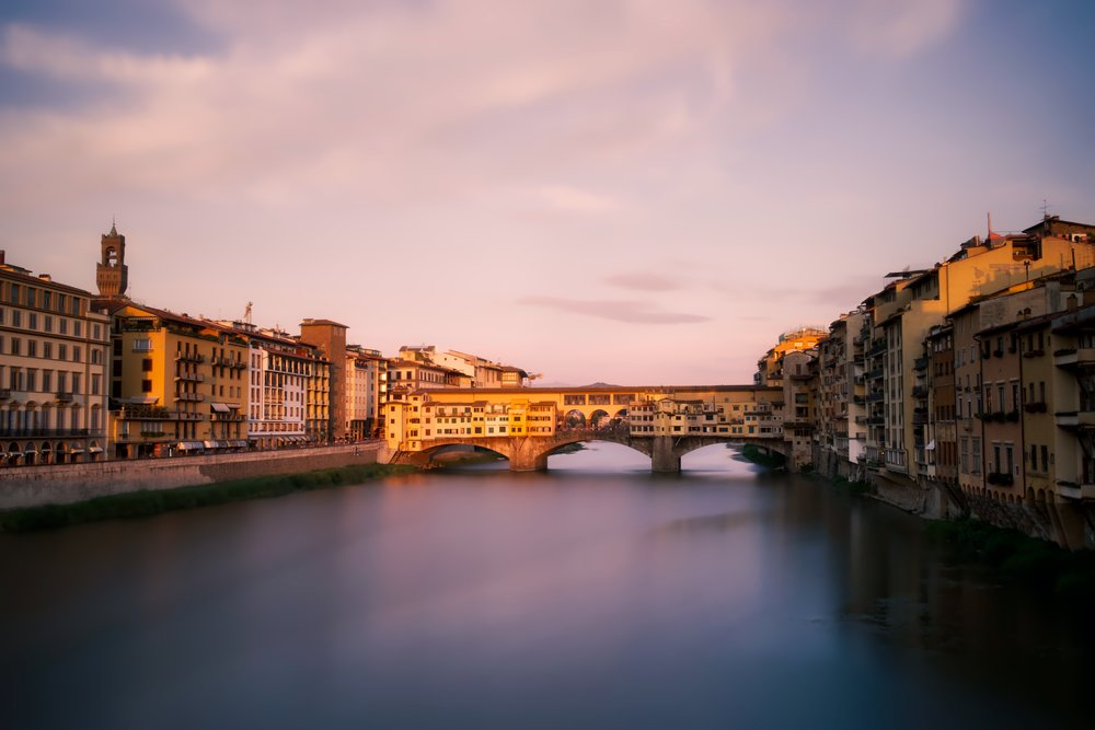 Sunset on the Ponte Vecchio (Florence, Italy).  Edited in Aurora HDR 2017.