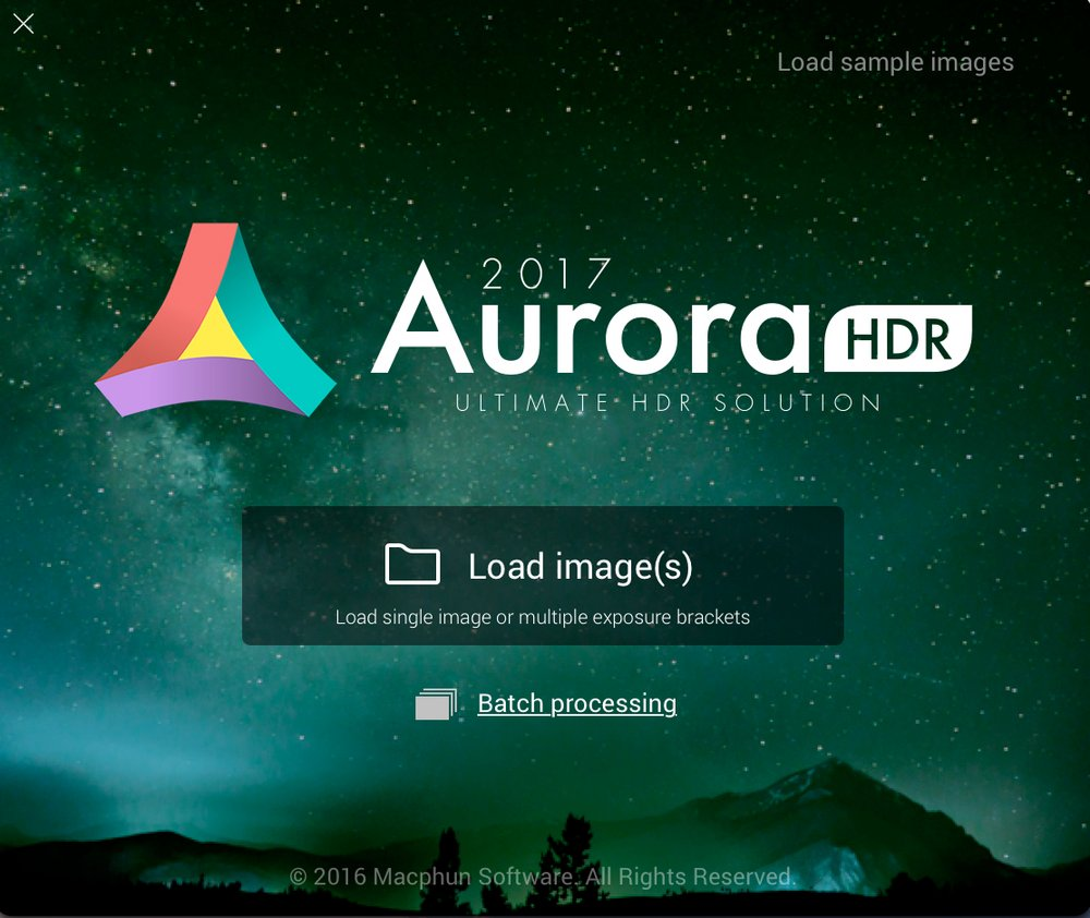Open Aurora HDR 2017 and click on Batch processing...