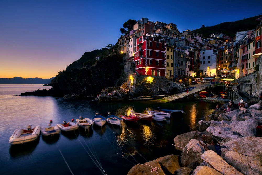 Blue hour falls on the coastal village of Riomaggiore