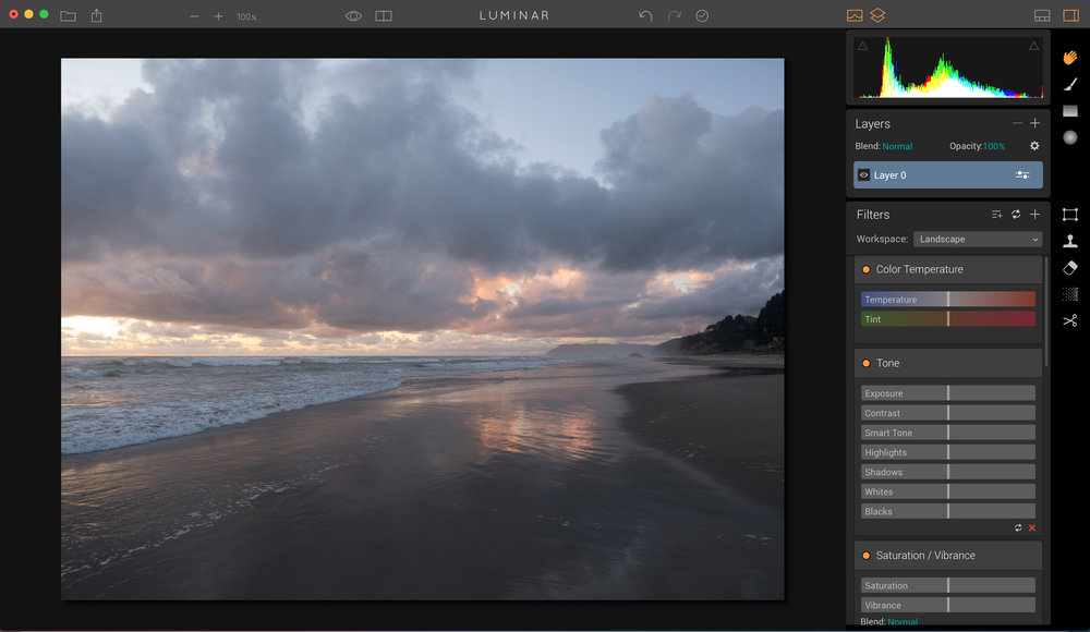 Here i chose the Landscape workspace to begin editing in - see all the filters that are there?
