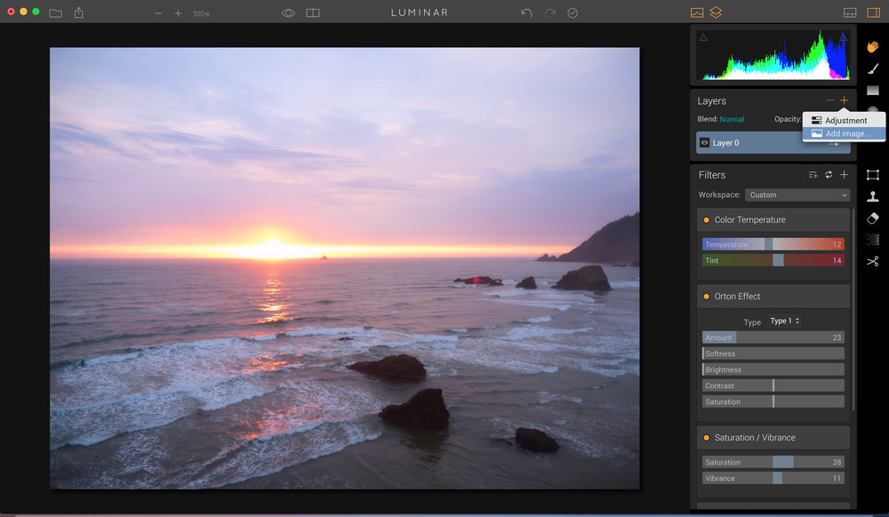 "Click on + in the layers panel to add a new layer, and choose ""add Image""."
