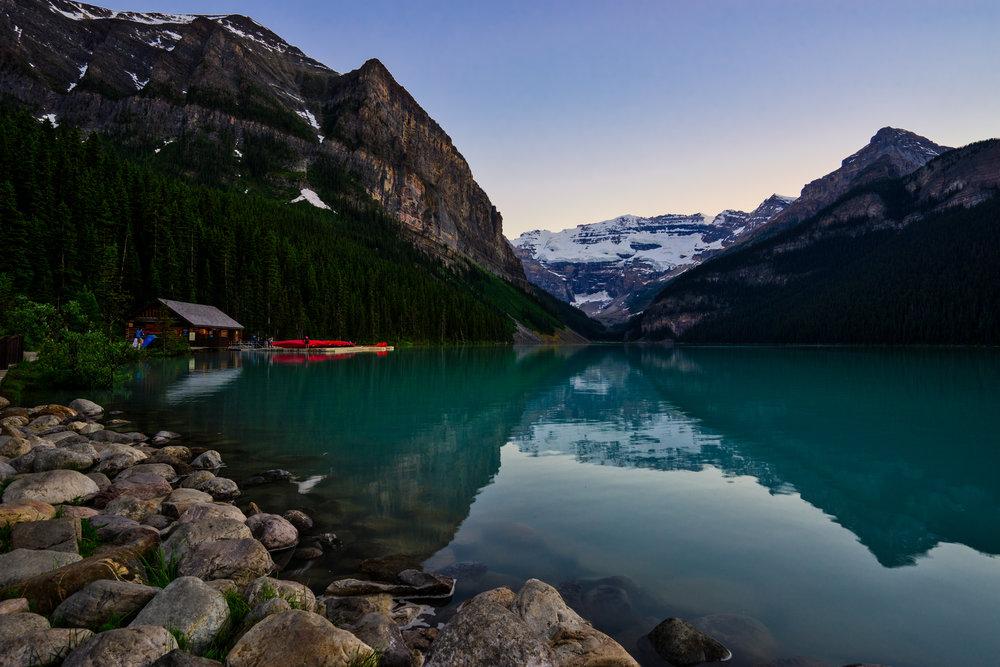 Canada-Lake-Louise-sunset-canoe-dock1.jpg