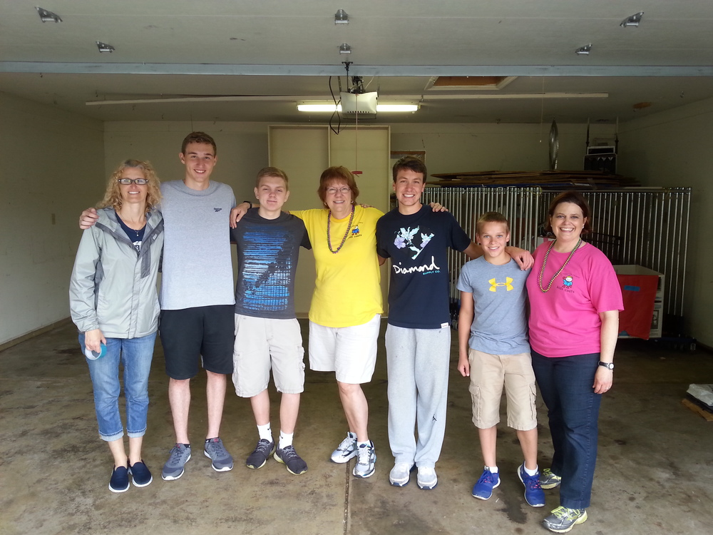 END OF PHASE I: The empty garage at the end of the day -- thank you to the many volunteers who helped this day! (10 more volunteers not in photo)