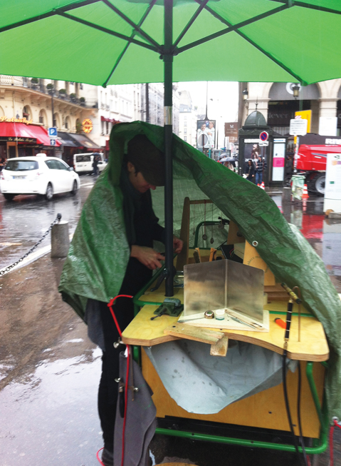 Gitte working in the rain.