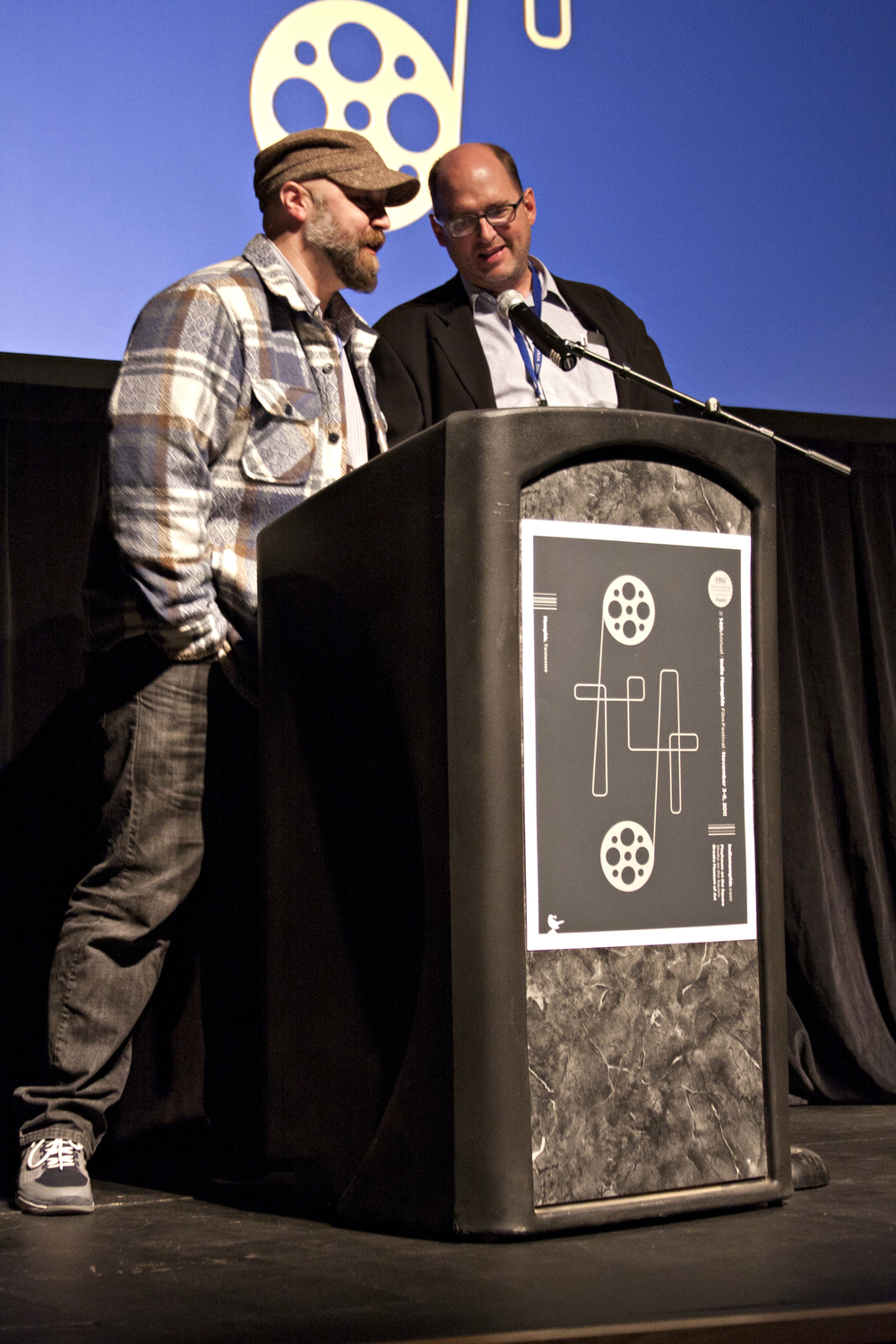 Jurors Craig Brewer and Daniel Waters at the 2011 Indie Memphis award show. Photo by Michael Norris.