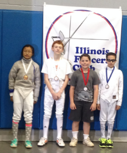 Jeanette Han, JT, Thomas, and Gabriel Goldberg after the Y12 Mixed Saber
