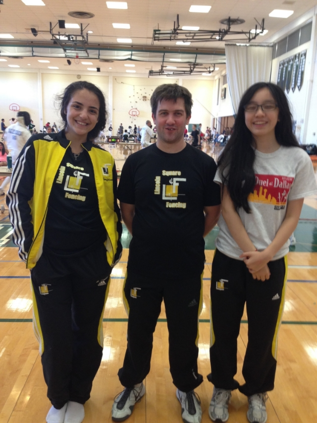Clara, Clint and Melissa after the Dallas RJCC Junior Women's Saber on Sunday.