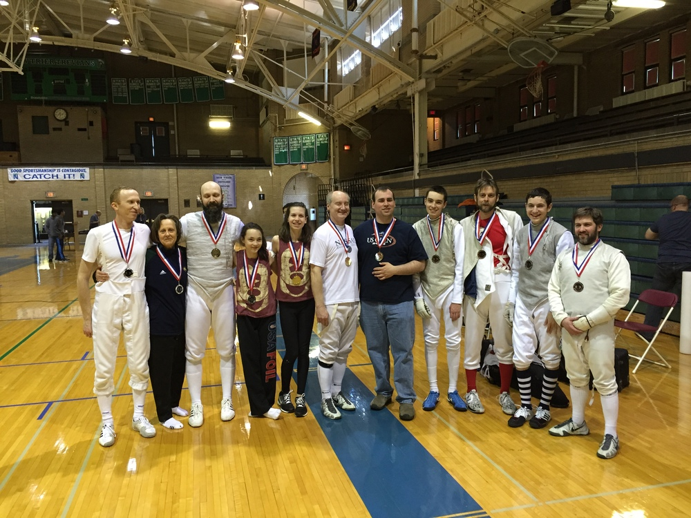 Gus, Alex, Jack, & Clint with the Bronze in Senior Team Foil.