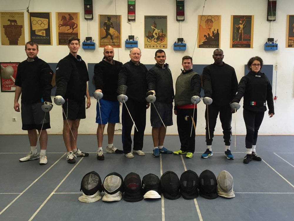 Laszlo Szepesi with the 2016 International Coaching Course Fencing Class at the Hungarian University of Physical Education, Budapest.