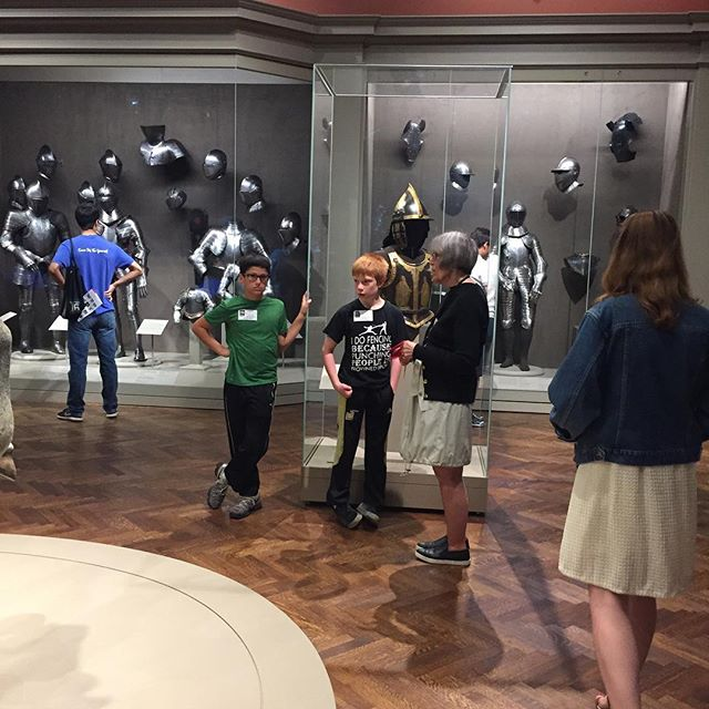 Fencing #camp, Aug 7-11: gallery talk with the Medieval Gallery's collection manager, Jane Neet! Thanks Jane for your time! #chicago #lincolnsquare #summercamp #saber #medieval #swords #timeoutforrecoveryandplay