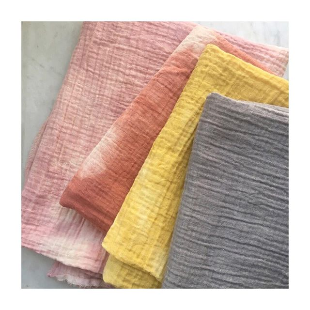 Restocked my super soft organic cotton gauze baby blankets! 48 x 48 with a frayed edge, finished with a single  seam. Machine washable and color fast 🤗