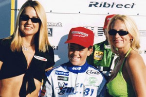 Miller celebrating his 1999 SuperNationals victory in style