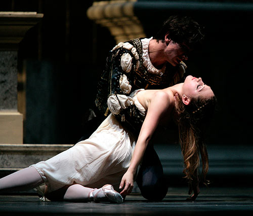 Sarah Van Patten and Pierre-François Vilanoba in Tomasson's Romeo & Juliet featured in Ballet Magazine
