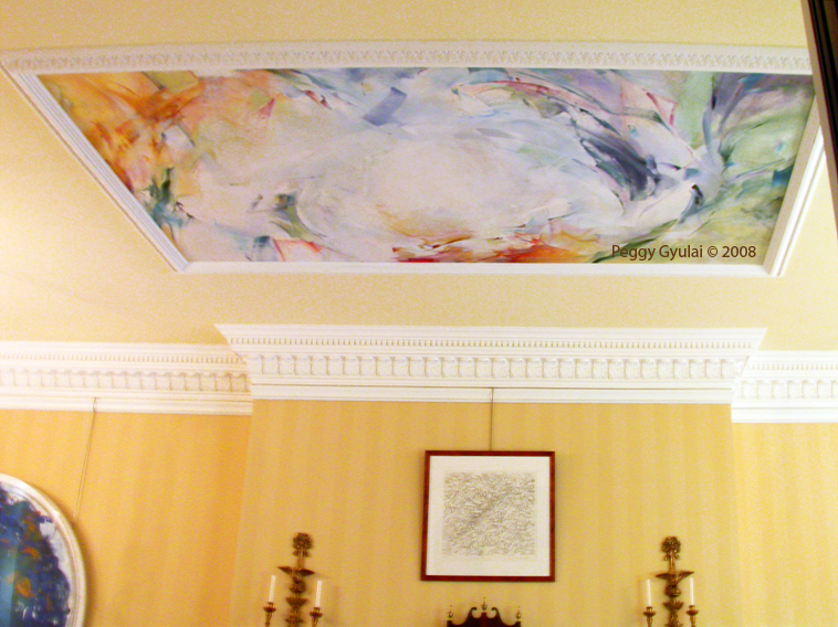 Painting for Philadelphia drawing room ceiling (with nearby Joan Mitchell tondo)