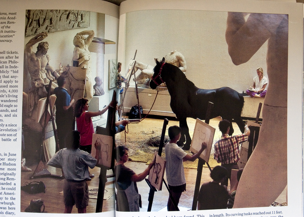 from National Geographic Magazine article about Charles Wilsom Peale, founder of the Pennsylvania Academy of Fine Arts (I'm behind the horse on the radiator)