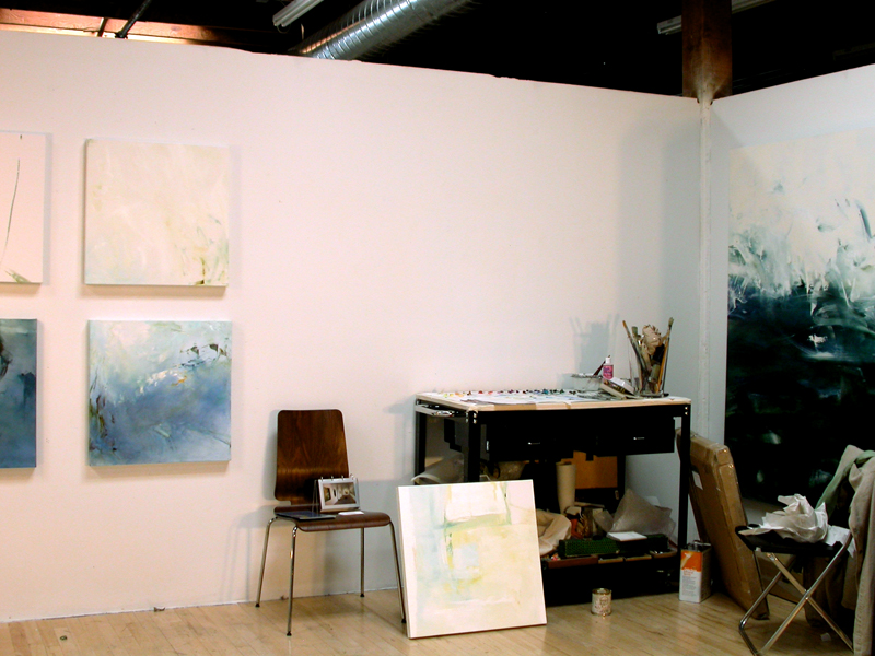 "A series of small works ""under construction"" in San Francisco studio"