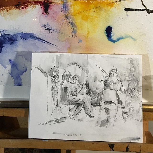 #sketch of the #daedalusquartetconcert at #musicatkohlmansion #sfartist #music #graphite
