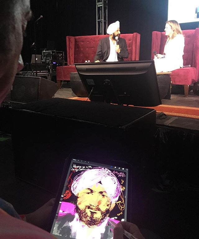 #jeremydsutton creating an #iPad #painting #portrait at #ifsowhat with #satjivchahil