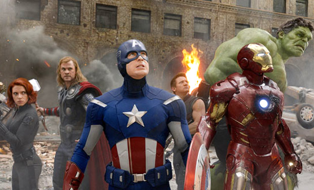 Avengers Assemble! (L-R) Black Widow (Scarlett Johansson), Thor (Chris Hemsworth), Captain America (Chris Evans), Hawkeye (Jeremy Renner), Iron Man (Robert Downey Jr.), and Hulk (Mark Ruffalo).