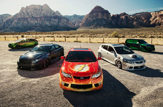Left to right: Aquaman Rio, Batman Optima, Flash Forte Koup, Cyborg Forte, and Green Lantern Soul