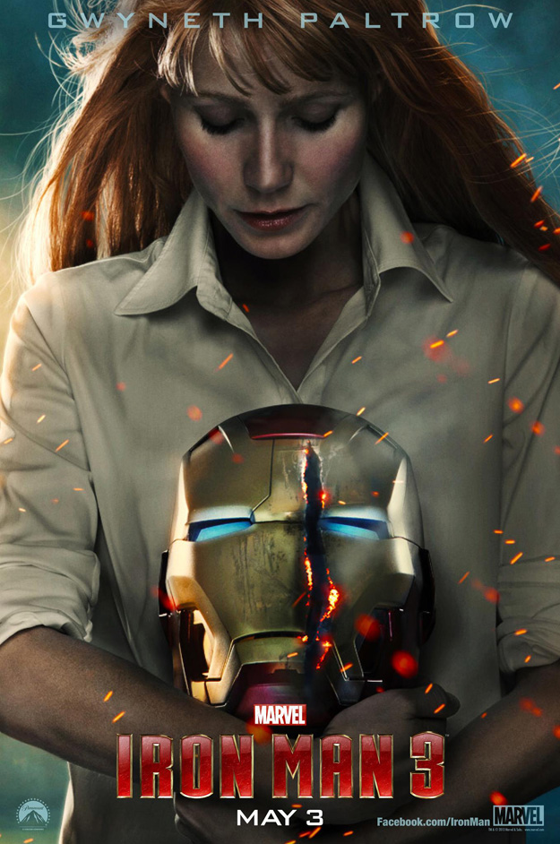 Iron Man 3 movie poster featuring Pepper Potts
