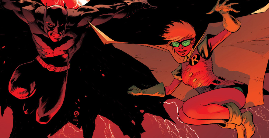 cover art from issue 19, featuring Carrie Kelley in a classically retro Robin garb.