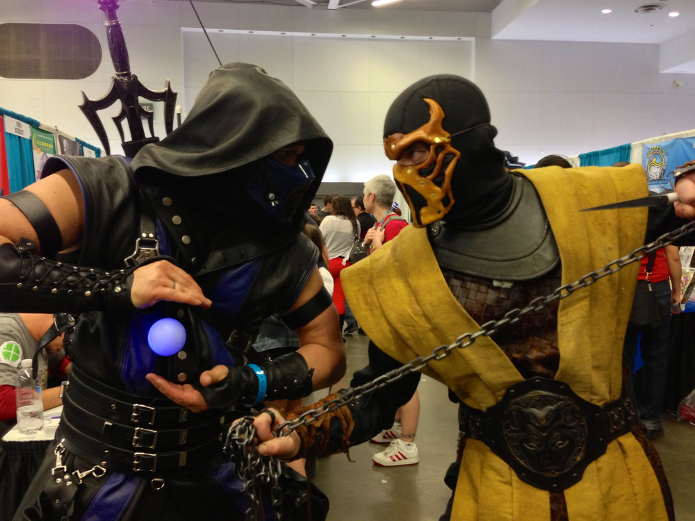 I'm so glad I captured this moment between Sub Zero and Scorpion from Mortal Kombat!