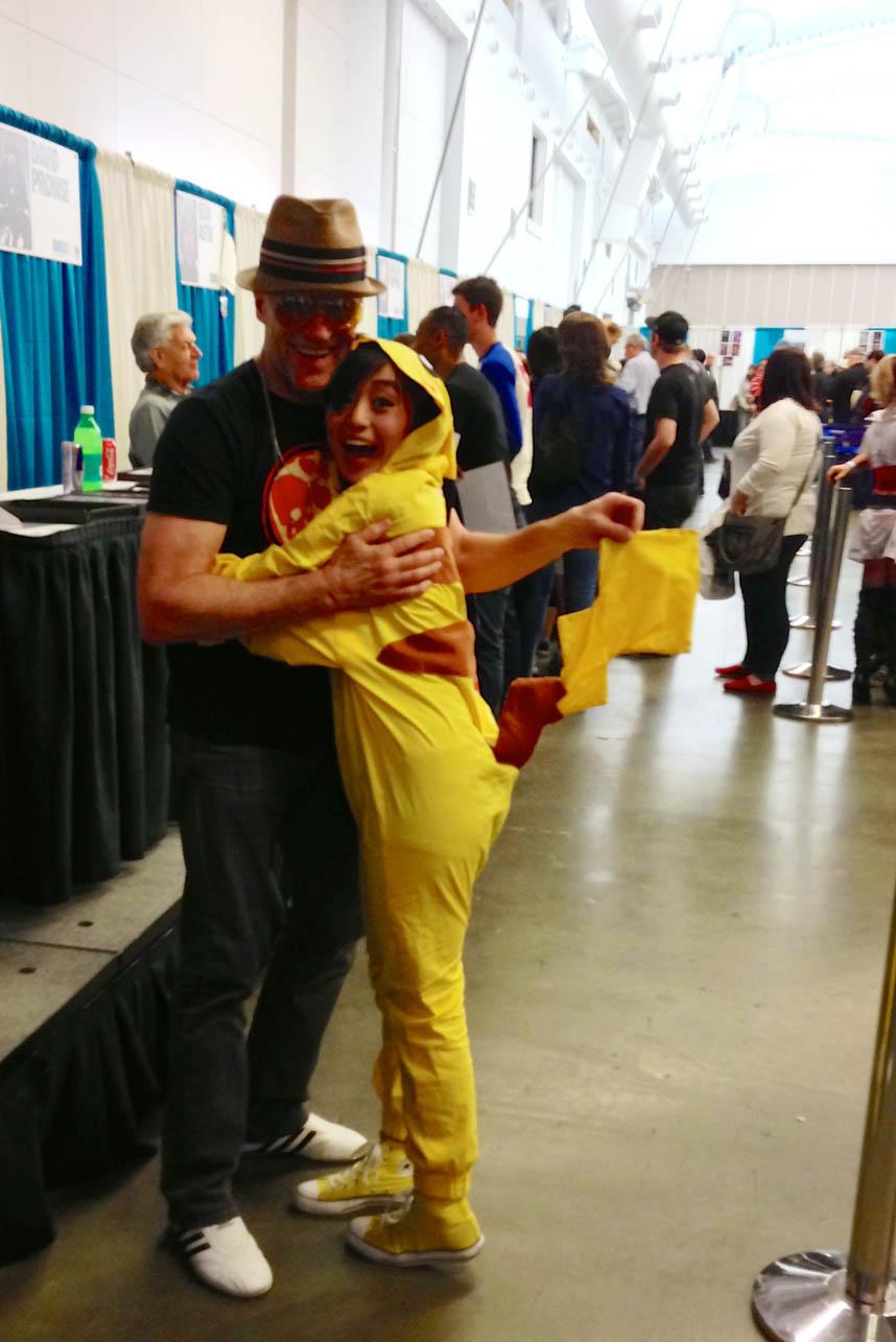 Michael Rooker gives Pikachu a BIIIIIIIIIIG HUG!!
